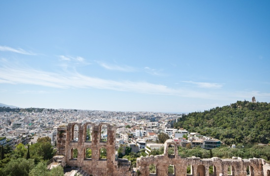 Looking out over Athens